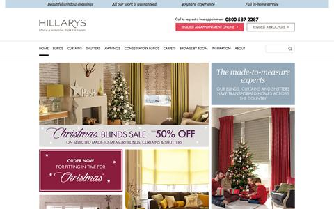 Screenshot of Home Page hillarys.co.uk - Made-to-Measure Window Dressings by Hillarys | Up to 50% off - captured Oct. 28, 2015
