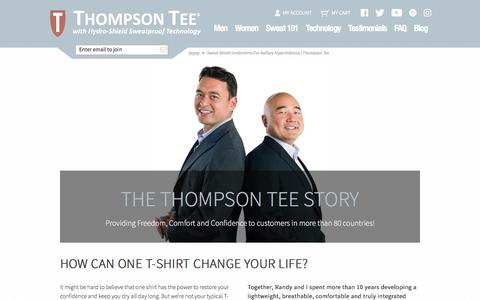 Screenshot of About Page thompsontee.com - Sweat Shield Undershirts for Axillary Hyperhidrosis | Thompson Tee - captured May 10, 2017