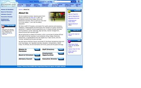 Screenshot of About Page pscleanair.org - About Us | Puget Sound Clean Air Agency - captured Oct. 3, 2014