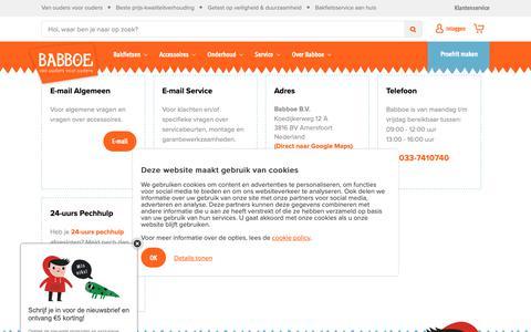 Screenshot of Contact Page babboe.nl - Babboe contact | Alle contact gegevens van onze klantenservice  | Babboe bakfietsen - captured Oct. 5, 2018