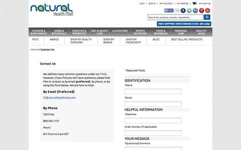 Screenshot of Contact Page naturalhealthmall.com - Contact Us - captured Oct. 9, 2014