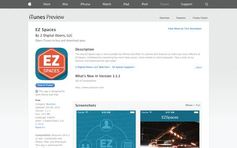 Screenshot of iOS App Page apple.com - EZ Spaces on the App Store on iTunes - captured Oct. 22, 2014