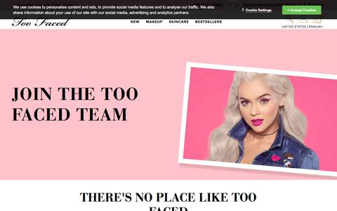 Screenshot of Jobs Page toofaced.com - Careers Page | TooFaced - captured Sept. 16, 2019