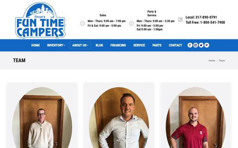 Screenshot of Team Page funtimecampers.com - Team – Braun's Fun Time Campers - captured Oct. 6, 2018