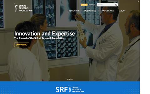 Screenshot of Home Page spinerf.org - Spinal Research Foundation - captured Jan. 14, 2016
