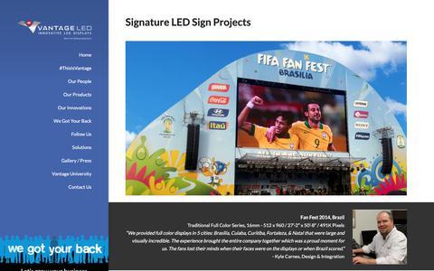Screenshot of Case Studies Page vantageled.com - Signature LED Sign Projects - LED Signs by Vantage LED | Cloud-Based LED Software - captured June 11, 2017
