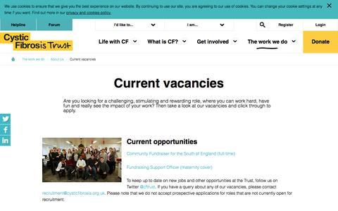 Screenshot of Jobs Page cysticfibrosis.org.uk - Cystic Fibrosis Trust - Current vacancies - captured Nov. 12, 2016