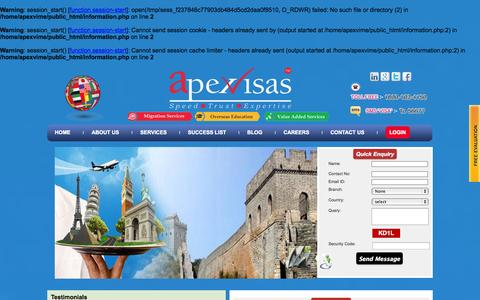 Screenshot of Testimonials Page apexvisas.com - Apex - captured Nov. 2, 2014