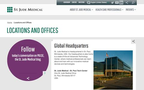 Screenshot of Locations Page sjm.com - Locations and Offices   St. Jude Medical - captured Feb. 17, 2017