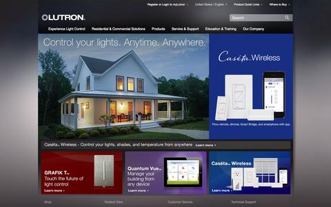 Screenshot of Products Page lutron.com - Lutron Electronics, Inc. - Dimmers And Lighting Controls - captured Sept. 22, 2014