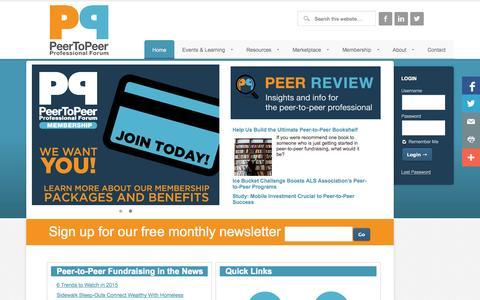 Screenshot of Home Page peertopeerforum.com - Peer to Peer Fundraising - captured Jan. 23, 2015