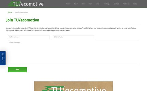 Screenshot of Signup Page tuecomotive.nl - TU/ecomotive - Join TU/ecomotive - captured Sept. 21, 2018
