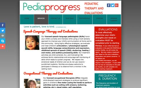 Screenshot of Services Page pediaprogress.com - Services - captured May 15, 2017