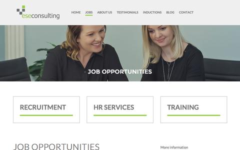 Screenshot of Jobs Page eseconsulting.com.au - ESE Consulting - Job opportunities - captured Oct. 15, 2016