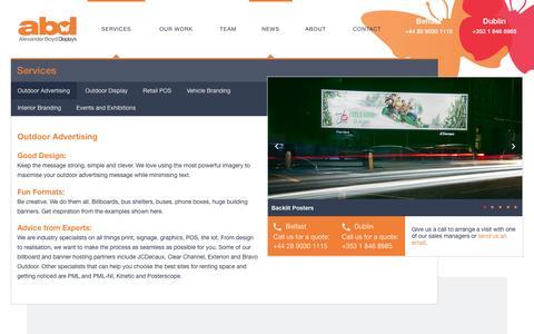 Screenshot of Services Page alexanderboyd.com - Outdoor Advertising - Alexander Boyd DisplaysAlexander Boyd Displays - captured Nov. 20, 2016