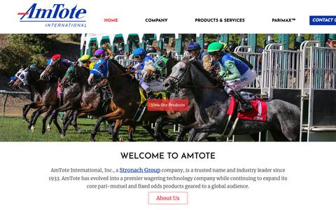 Screenshot of Home Page amtote.com - Home Page | AmTote International - captured Oct. 3, 2018