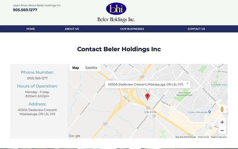 Screenshot of Contact Page bhi.ca - Contact Us | Mississauga Distribution Company - captured Nov. 6, 2018