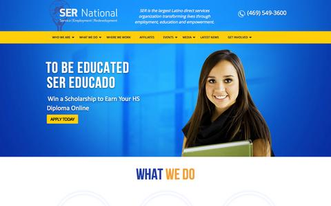 Screenshot of Home Page ser-national.org - SER National | Service | Employment | Redevelopement - captured Oct. 3, 2014