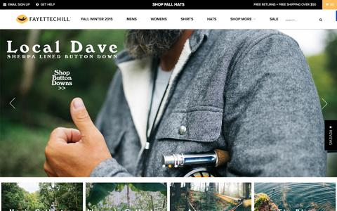 Screenshot of Home Page fayettechill.com - Fayettechill Clothing Company - Experience inspired outdoor company based in the Ozark Mountains. - captured Dec. 10, 2015