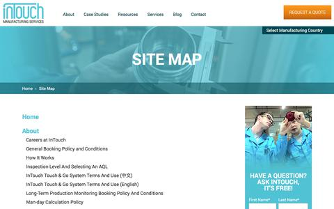 Screenshot of Site Map Page intouch-quality.com - Site map | InTouch Quality Control - captured July 5, 2017