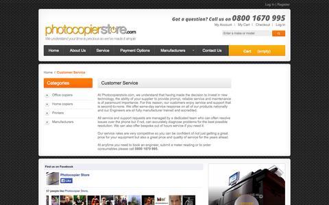 Screenshot of Support Page photocopierstore.com - Customer Service - captured Oct. 2, 2014