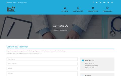 Screenshot of Contact Page doctorvista.com - Contact - DoctorVista - captured June 4, 2017