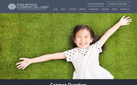 Screenshot of FAQ Page rossmorganco.com - Common Questions | Ross Morgan & Company, Inc. - captured July 13, 2018