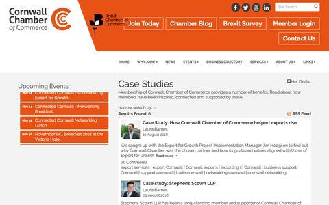 Screenshot of Case Studies Page cornwallchamber.co.uk - Case Studies - Cornwall Chamber of Commerce - captured Sept. 29, 2018