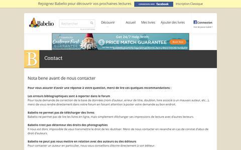 Screenshot of Contact Page babelio.com - Babelio - Découvrez des livres, critiques, extraits, résumés - captured May 31, 2017