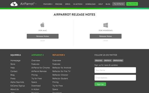 Screenshot of airsquirrels.com - Release Notes for AirParrot - captured March 20, 2016