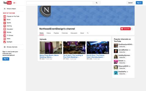 Screenshot of YouTube Page youtube.com - NortheastEventDesign's channel  - YouTube - captured Oct. 26, 2014