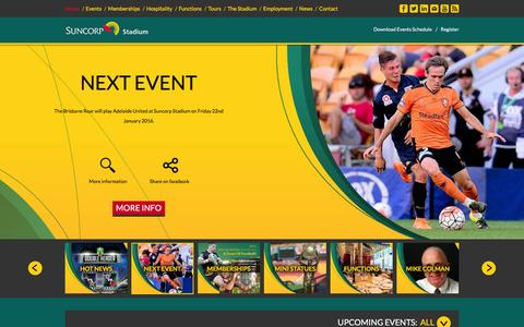 Screenshot of Home Page suncorpstadium.com.au - Suncorp Stadium :: Home - captured Jan. 14, 2016
