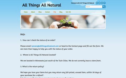 Screenshot of FAQ Page allthingsallnatural.com - FAQ - All Things All Natural - captured Oct. 4, 2014