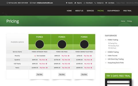 Screenshot of Pricing Page marketlive365.com - Pricing - captured Jan. 9, 2016