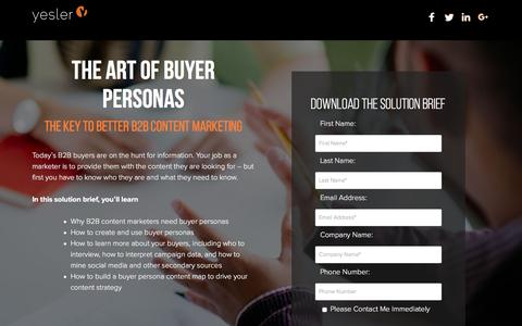 Screenshot of Landing Page yesler.com - The Art of Buyer Personas | Technology Industry Expertise | Yesler - captured Oct. 28, 2016