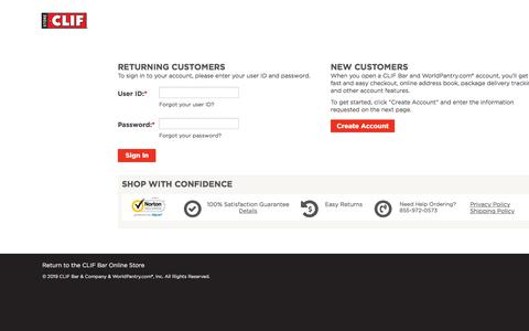 Screenshot of Login Page worldpantry.com - CLIF Bar - Sign In for Returning Customer or Create Account for New Customers - captured Sept. 15, 2019