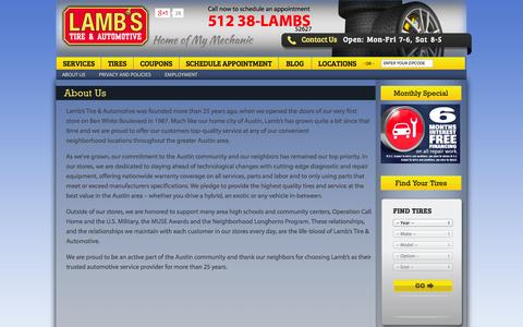 Screenshot of About Page lambstire.com - Austin Auto Repair Mechanics | Austin Automobile Repair Shops | Lamb's Tire & Automotive | Lamb's Tire - captured Oct. 1, 2014