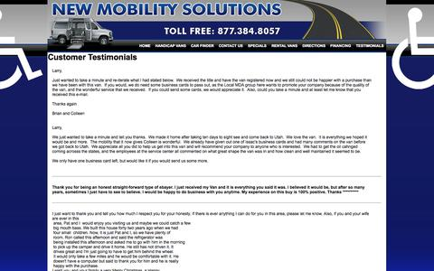 Screenshot of Testimonials Page newmobilitysolutions.com - Customer Testimonials - New Mobility Solutions Jackson MI - captured Oct. 26, 2014