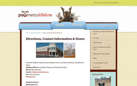 Screenshot of Hours Page pawmettolifeline.org - Directions, Contact Information & Hours - PawmettoLifeLine.org - captured July 2, 2018