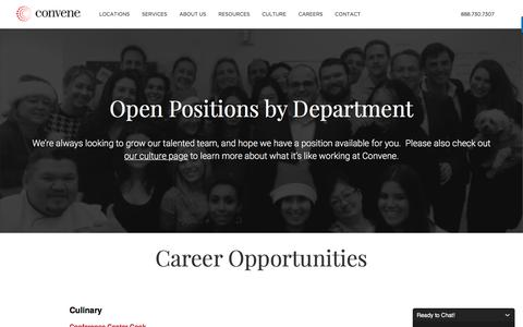 Screenshot of Jobs Page convene.com - Career Opportunities at Convene - captured Feb. 10, 2017