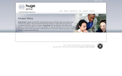Screenshot of Privacy Page hugegroup.com - Huge Group   Privacy Policy - captured Oct. 3, 2014