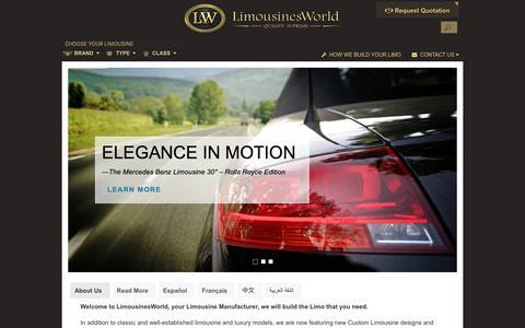 Screenshot of Home Page limousinesworld.com - Limousines Manufacturer USA | Mercedes Limousines | BMW Limos | Cadillac | Audi | Porsche | Range Rover Limousine | Chrysler | Custom SUVs | Armored SUV Limos | Custom Stretch Limousines | Custom CEO Limousines Builder | Limos for Sale - captured July 20, 2018