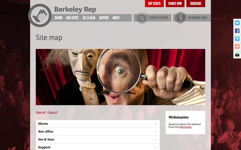Screenshot of Site Map Page berkeleyrep.org - Berkeley Rep site map - captured Oct. 5, 2014