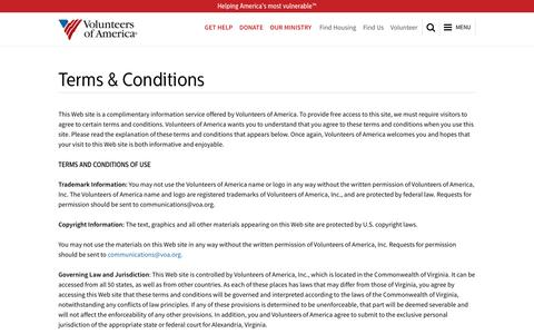 Screenshot of Terms Page voa.org - Terms & Conditions | Volunteers of America - captured Nov. 2, 2014