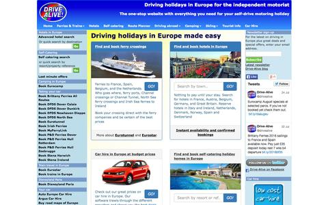 Screenshot of Home Page drive-alive.co.uk - Self-drive holidays France Europe Ireland. Driving holidays in Italy and Spain. Motoring holidays in Belgium Germany Austria and Scandinavia. - captured Aug. 5, 2015
