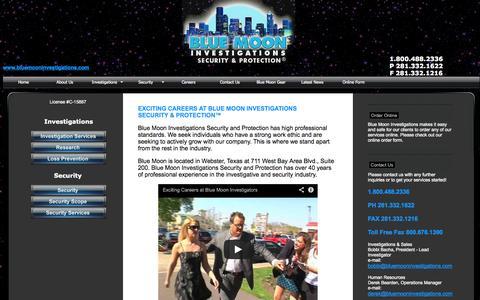 Screenshot of Jobs Page bluemooninvestigations.com - Blue Moon Investigations:Nationwide Investigators, Houston Investigators: Surveillance, Infidelity, Divorce, Background Checks, Locates - captured Oct. 5, 2014