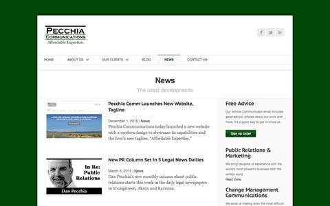 Screenshot of Press Page pecchiacomm.com - News | Pecchia Communications | Public Relations & Marketing in Youngstown, Ohio - captured Jan. 26, 2016