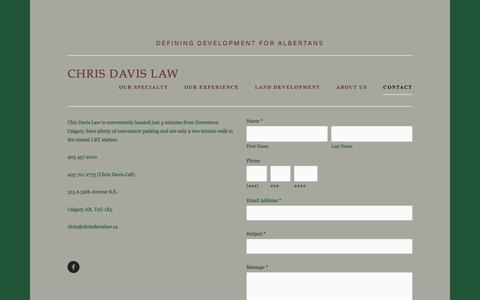 Screenshot of Contact Page chrisdavislaw.ca - Contact — Chris Davis Law - captured March 24, 2016