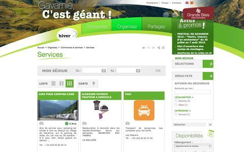 Screenshot of Services Page gavarnie.com - Services   Office de Tourisme de Gavarnie Gèdre - Cirque de Gavarnie, Troumouse, Estaubé - captured June 2, 2016