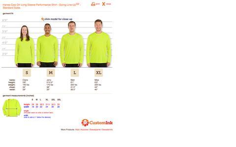 Screenshot of customink.com - CustomInk.com Sizing Line-Up for Hanes Cool Dri Long Sleeve Performance Shirt - Standard Sizes - captured Aug. 19, 2016